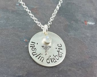 Medical Alert Necklace, Med ID Pendant, With your Choice of Geniune Birthstone
