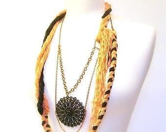 CIJ SALE Body Jewelry, Statement Necklace, Fiber, Braided, Twisted Cotton Chenille Yarn, Copper Chain, Black Pendant, OOAK