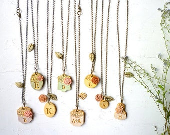Cherry Blossom Bridesmaids Necklaces - Cottage Chic Wedding -  Set of 8
