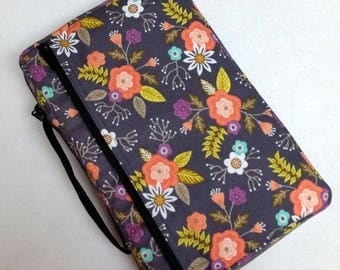 Bible Cover Custom Fit Gray with Orange Flowers