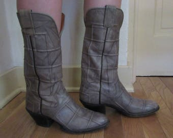 1970s Handmade Grey Leather Cowboy/girl Boots