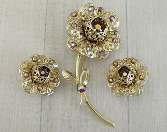 """Big Vintage Sarah Coventry """"Fashion Flower"""" Pin And Earring Set, Red Aurora Rhinestones, Sarah Cov Brooch Clip Ons, 1960s Floral Jewelry"""