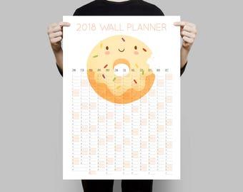 Large 2018 Wall Planner, 2018 Calendar, Donut Calendar, Office Calendar, Large Wall Calendar, 2018 Planner, Year Planner, Monthly Planner
