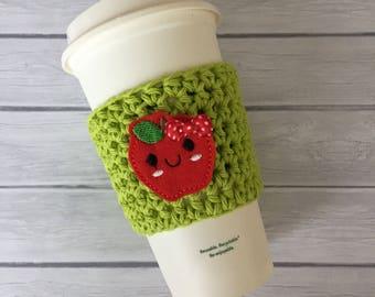 Apple cup cozy, fruit cup cozy, back to school, teacher gift, coffee cup cozy, teacher cup cozy, coffee cup sleeve, crochet cozie, cup cozy