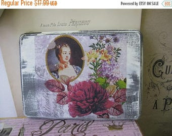 Romantic Aged Nordic French Inspired Cottage Chic Wall Hanging Madame de Pompadour Gray White Floral