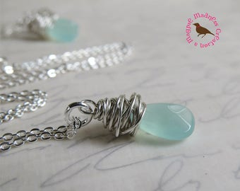 Pale Mint Green Pendant, Petite Mint Teardrop Pendant, Translucent Mint Pendant, Wire Wrapped Silver, by MagpieMadness for Etsy