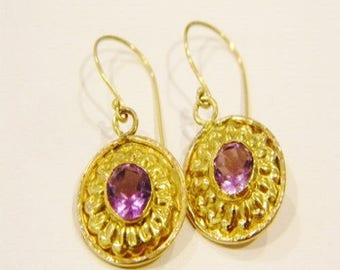 22k Solid Gold with Natural Brazilian Amethyst Earrings Handmade