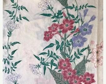 SALE Vintage KING flat sheet remix bed sheets bedding retro linens hippie reclaimed sheets vintage crafts fabric floral