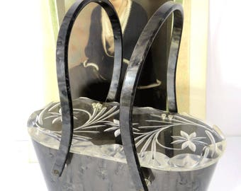 Vintage Lucite  Marbled Purse Dark Gray Carved Flower Lid 1950s Retro Style