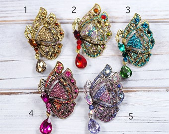 Butterfly Brooch, Vintage Style Crystal Bridal Brooches Designer Jewelry Pin Wedding Gift E55