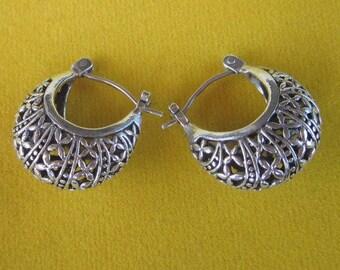 Alluring Balinese Sterling Silver Hoop Earrings / Ready to ship, earrings, silver work earrings. silver earrings