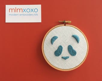 "Panda embroidery KIT by mlmxoxo.  modern embroidery kit.  panda.  animal pattern.  home decor.  nursery decor. children's room.  4"" hoop"