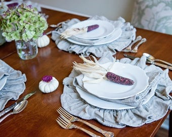 Round Ruffled Linen Placemats Set of 4