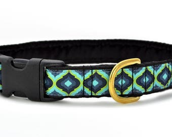 "Ready-to-Ship: Moroccan Splendor Jacquard - 1"" Buckle Collar - LARGE - Brass Hardware"