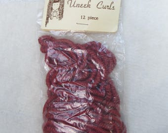 Uneek Curls Doll Hair Unopened Package of Red Rust Colored Spiral Curls Doll Hair 12 Pieces