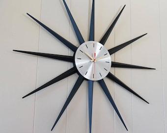 "Classic 30.5"" Vintage Starburst Wall Clock - Sunburst Atomic Eames Era Mid Century Modern 1950's 60's Silver Black"