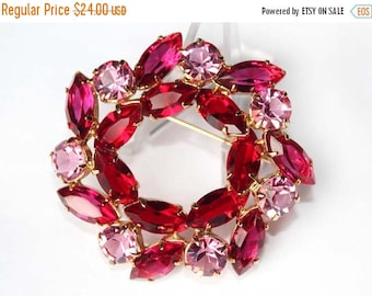 20% OFF SALE - Vintage Juliana Style Rose Pink and Siam Red Navette Rhinestone Wreath / Circle Brooch