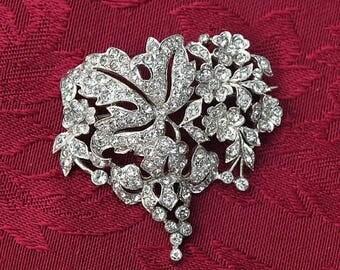 20% OFF SALE - Beautiful Crystal Rhinestone Rhodium-Plated Floral Vintage Brooch