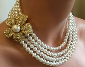 COMPLETE Wedding Jewelry Set in Gold Bracelet Necklace Earrings Brooch Multi Strand Swarovski Pearls in your choice of color pearl bridal