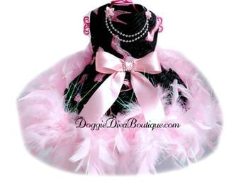 Dog Dress, Feather Boa Dog Dress, Dog Pageant Dress, Couture Dog Dress, Formal Dog Dress, XS, Small, Medium, Custom Available