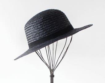 Vintage Gucci Hat • Vintage Straw Hat • Wide Brim Straw Hat • 80s Gucci Hat • Black Straw Hat • Summer Hat • Wide Brim Hat | GSC028