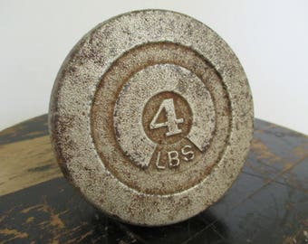 Vintage Salvaged Cast Iron Scale Weight - Number 4 - Four Pound Weight - Industrial Decor - Circular Shape Weight