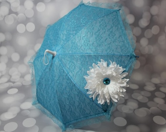 Blue Sun Parasol - Lace Umbrella - Girls Blue Parasol with White Flower - Flower Girl Parasol - Tea Party Sun Shade - Photo Prop -  17002