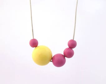 Wood bead necklace, wooden necklace, asymmetric long necklace, wood necklace, yellow and fuschia, eco friendly jewelry, minimal jewelry