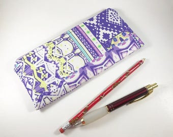 Purple Pencil Case, Pencil Pouch, Journal Accessory Bag, Purple Zippered Pouch