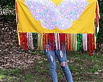 Fancy Dance Shawl Teen or Adult Regalia-NDN-Yellow-Ribbon Fringe-Butterfly Applique-Fancy Shawl