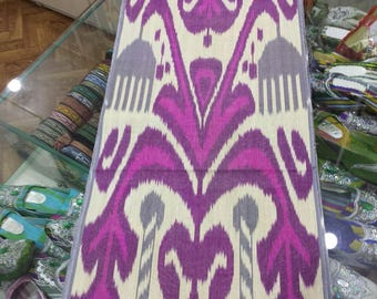 Uzbek traditional handwoven silk ikat fabric by meter. Tribal, ethnic, boho fabric