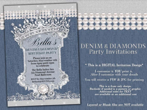 Denim Wedding Invitations: Denim And Diamonds Sweet 16 Invitations Western Birthday