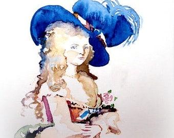 Original watercolour card. Vintage fashion.