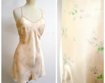 1940s CC41 floral peach satin teddy / 40s wartime pastel rayon romper lingerie - S