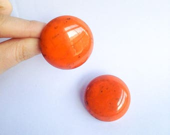 1940s Orange & black marbled Bakelite huge earrings / 30s 40s tomato soup large disc clip on earrings