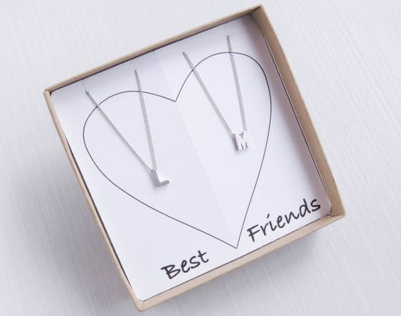BFF Necklace Silver | Silver Tiny Initial | Silver Letter Necklace | BFF Necklace | Friendship Necklace | Initial Necklace | Name Necklace