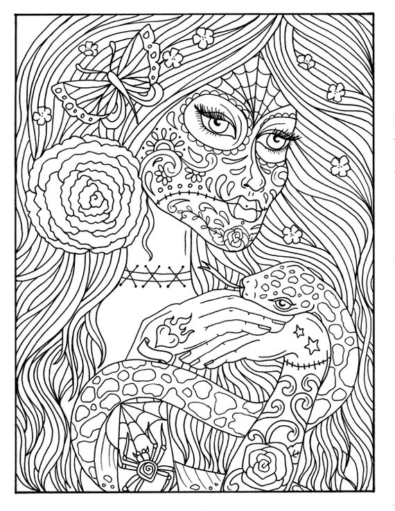 5 pages day of the dead girls digital coloring book coloring pages digi stamp adult coloring halloween - Digital Coloring Book