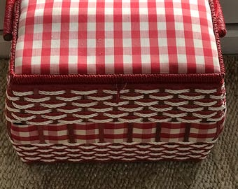 Vintage 1950s Red and White Gingham Sewing Basket / Midcentury Modern Sewing Basket / JC Pennys Sewing Basket / 1950s