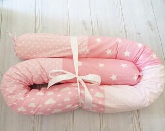 Crib Bumpers , Pink Baby bedding , Baby Bumper , Snake Pillow , Bumper Bed Pillow , Star Print Pillow ,  stars baby bumper