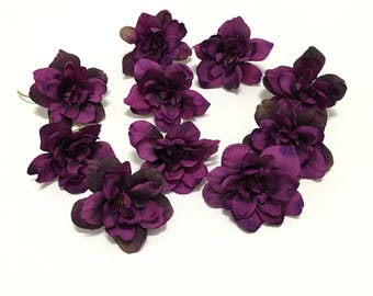 10 Eggplant Purple Delphinium Blossoms - 3 Inches - Artificial Flowers, Silk Flowers, Flower Crown, Hair Accessories, DIY Wedding, Millinery