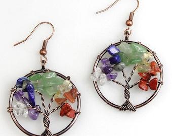Tree of Life Earrings Rainbow Earrings Gemstone Wire Tree Silver Earrings Multi colored Beaded Tree of Life Dangle Earrings Christmas Gift