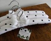 Padded Hangers, Linen Hangers, Polka Dot Hangers, Bridesmaid Hangers, Wedding Party Hangers, Black & White Hangers, White Linen Hangers