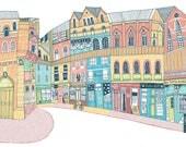 Edinburgh Victoria Street Illustration Print
