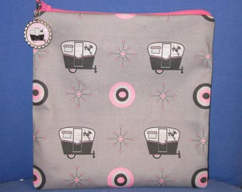 """Camping Zipper Tote, Purse, Bag 8"""" X 8"""" Vintage Camper Canned Ham Trailers on GREY"""