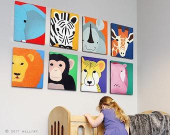 Nursery decor, SET OF 8 safari animal canvas wrap series. African animal zoo animal canvas wall art for kids. Safari series by WallFry.