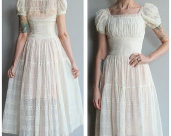1930s Dress // Romantic Eyelet & Swiss Dot Dress // vintage 30s dress