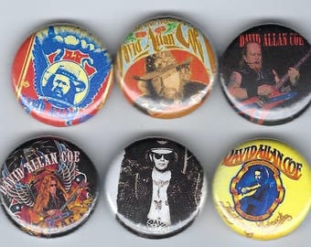 "David Allan Coe1"" Pins Buttons Badges x 6 Outlaw Country DAC Longhaired Redneck"