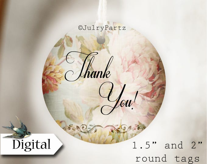 DIY SHABBY CHIC #11•Thank You Tags•Printable Tags•Digital Tags•Favor Tags