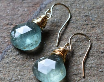 Moss Aquamarine 14k gold-filled earrings - Aquamarine jewelry - 14k gold jewelry - wire wrapped - bohemian jewelry - March birthstone