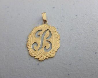 Vintage 14KT Gold B Pendant - initial B Pendant in Gold - 14ct Gold Initial Pendant - Dainty B Pendant - Vintage Gold Pendant - Ornate B